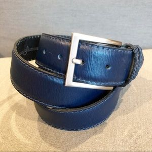 "ASOLE & BUTTONI 1.5""  Leather Navy Belt Italy Rome"
